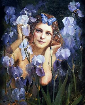 Nymphe des bois aux iris