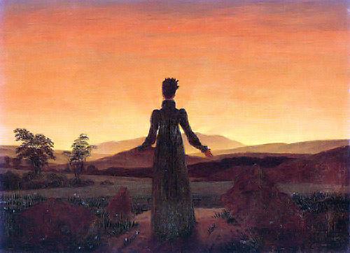 Femme au soleil couchant vers 1818